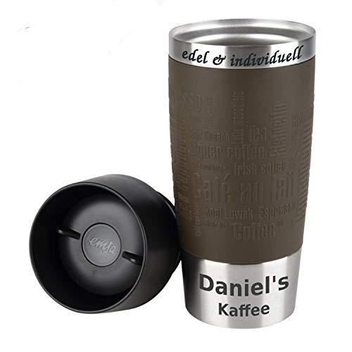 Emsa Isolierbecher Kaffeebecher 360 ml Braun + Lasergravur