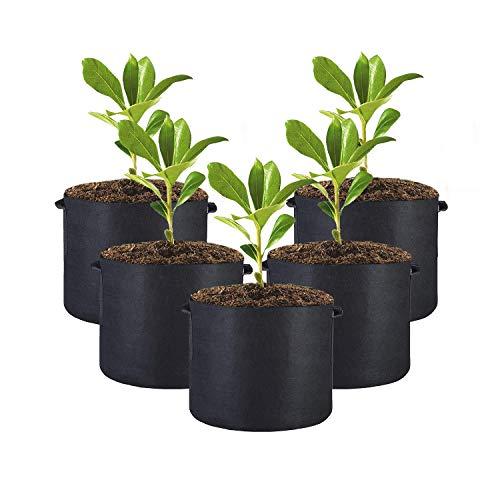 KIMILIN 5セット不織布大容量ポット プランター フェルト 植え袋野菜 植え袋ガーデン 園芸 植物育成 野菜栽培 (7ガロン (高28×直径35))