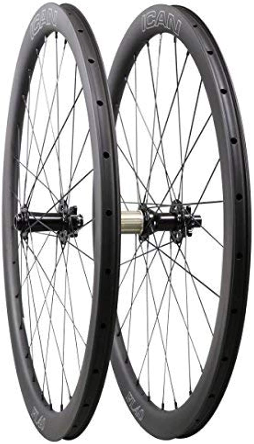 ICAN Carbon Cyclocross Bike Wheels Disc Brake 40mm Clincher Tubeless Ready 12x100mm 12x142mm Shimano 10 11 Speed 1550g