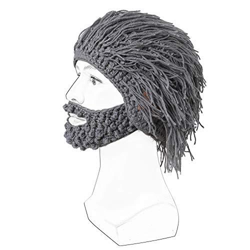 TYXQ Hombres Wireless Bluetooth Hat, Knit Beard Hats Gorro con Peluca, Winter Warm Ski Mask