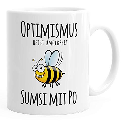 MoonWorks® Optimismus heisst umgekehrt Sumsi mit Po Bürotasse Motiv Biene weiß unisize