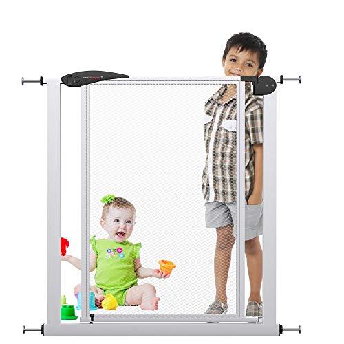 VISTA S Türschutzgitter | 90cm extra hoch - ohne Bohren | Breiten 60-120 cm | Tür-Treppen-Absperr-Schutz-Gitter zum Klemmen Baby Kinder Netz
