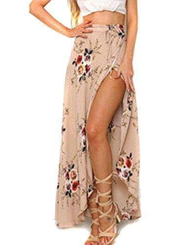 Moda Falda Larga Estampada Flor Maxi Boho Verano para Mujer Vestido Pareo Playa Bikini Cover Up Ropa de Playa Fiesta Caual Vacación Rosado M