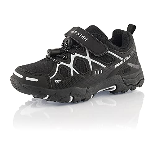 Fusskleidung® Mädchen Jungen Wanderschuhe rutschfeste Kinderschuhe Klettverschluss Schwarz Schwarz Weiß EU 27