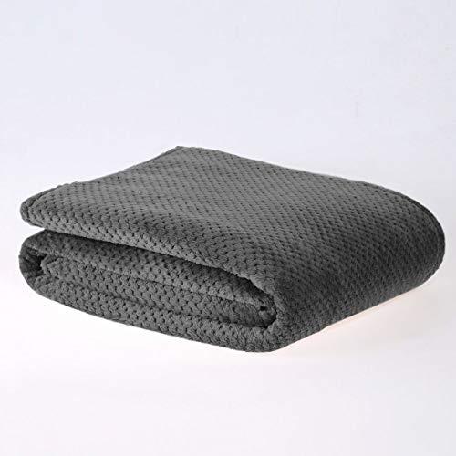 Sleepdown Luxuriöser Überwurf aus Waffel-Fleece, superweich, warm, gemütlich, Wabenmuster, Tagesdecke, 200 x 250 cm, Polyester, 200 x 250 cm, Anthrazit
