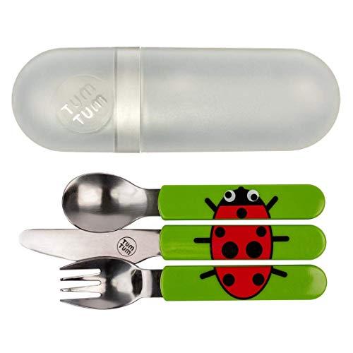 TUM TUM - Cubertería infantil con funda de viaje, juego de cubiertos para niños, sin BPA (Bugs)