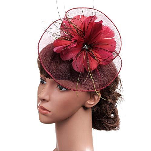 GPWDSN Pinzas para el Cabello con Plumas para Mujer, Sombrero de Novia Hecho a Mano, Gorro de Malla para Banquete de Plumas para Bodas, Fiesta de té (Rojo Vino)