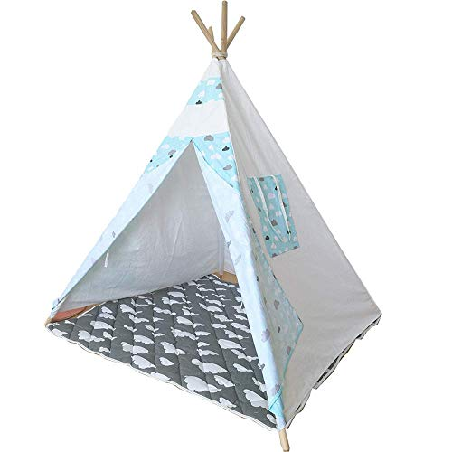 HIGHKAS Children's Game House Play Tent cloud pattern cotton canvas Girl Boy 2 years old indoor outdoor fashion