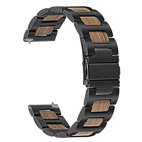 Compatible con Samsung Galaxy Watch 46mm reloj de reloj, 22 mm de acero inoxidable de madera natural banda de sandalia de sándalo rojo de liberación rápida Pulsera de muñeca para Gear S3 Classic / Fro