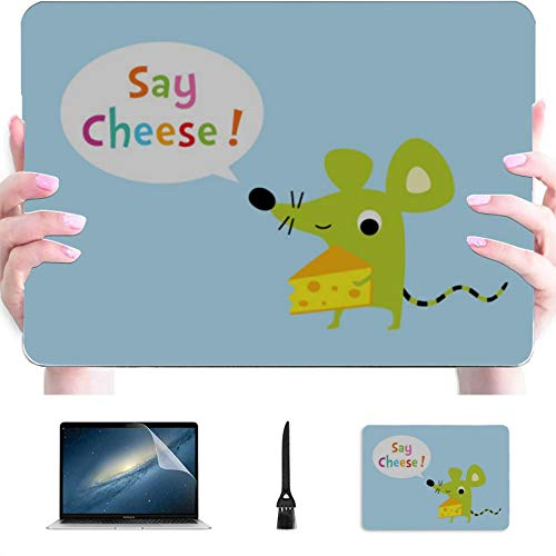 Mac Pro Cover Yellow Delicious Cheese Plastic Hard Shell Compatible Mac Mac Computer Case Protection Accessories for MacBook with Mouse Pad