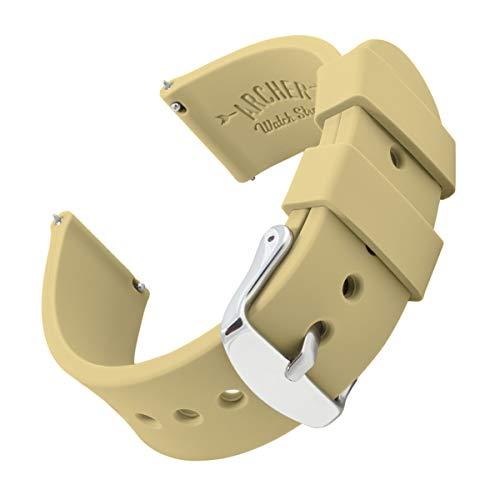Archer Watch Straps | Repuesto de Correa Reloj de Silicona para Hombre y Mujer, Caucho Fácil de Abrochar para Relojes y Smartwatch | Naranja Portland, 22mm