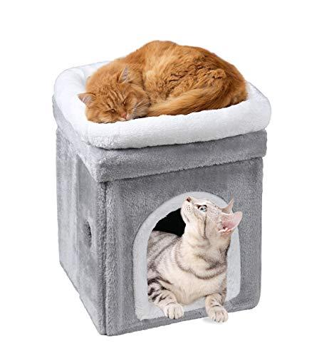 HIKEMAN Casa de Gato Plegable de 2 Capas cálida y Multifuncional para...