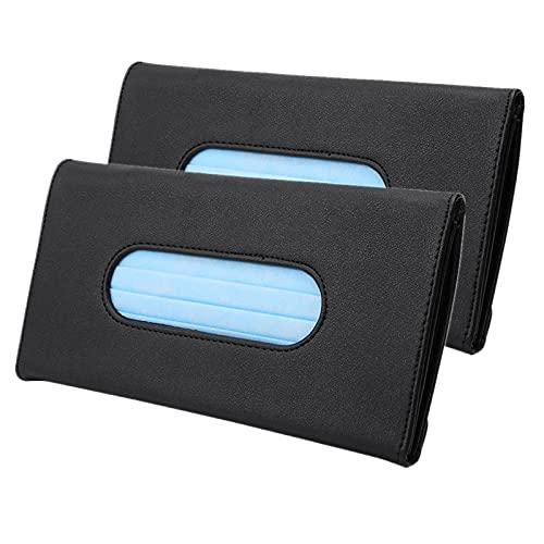 HZGAMER 2 Pack Car Tissue Holder, Black PU Leather Sun Visor Tissue Box Napkin Van Truck Vehicle Tissues Case Dispenser for Backseat and Sun Visor