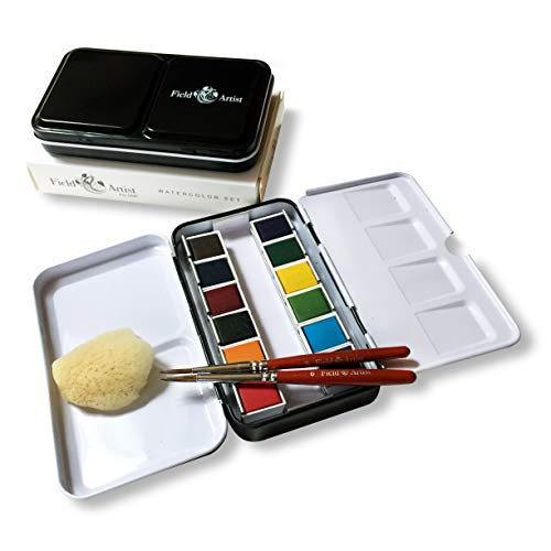 Field Artist Pro 12HP - Complete Travel Watercolor Set Includes 12 Brilliant Half Pan Colors, 2...