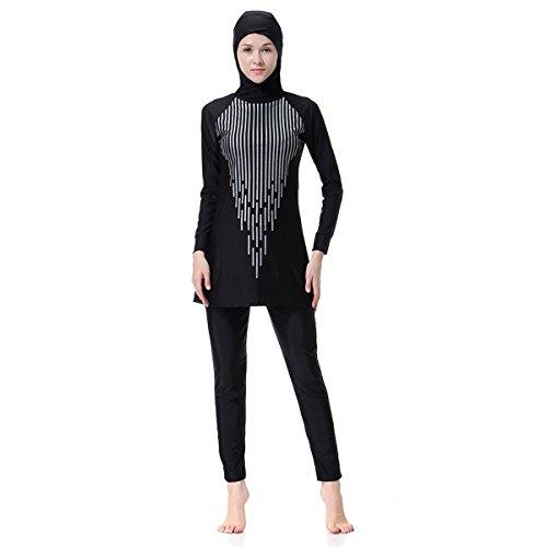 Dreamskull Damen Frauen Muslime Abaya Dubai Muslimische Islamische Burkini Badeanzug Bademode Schwimmanzug Swimsuit Hijab Lang Langarm Arab Arabisch Indien Türkisch Kleidung Sommer (XL, Schwarz)