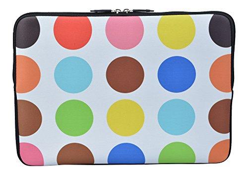 MySleeveDesign Laptoptasche Notebooktasche Sleeve für 10,2 Zoll / 11,6-12,1 Zoll / 13,3 Zoll / 14 Zoll / 15,6 Zoll / 17,3 Zoll - Neopren Schutzhülle mit VERSCH. Designs - Colored Points [10]