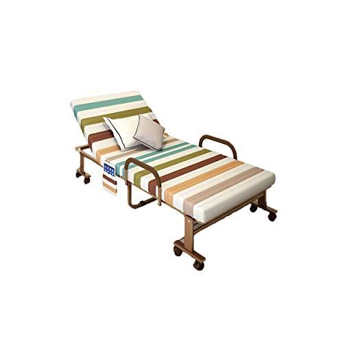 GUOSHUCHE Cama plegable Cama plegable, reforzada cama individual, cama esponja hogar, oficina cuna for adultos, siesta cama pausa for el almuerzo portátil, de doble uso, café (70 cm, 80 cm, 90 cm, 100