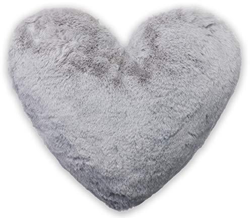 Brandsseller - Herzkissen kuscheliges plüsch Dekokissen Herzform ca. 40x30 cm, Hellgrau