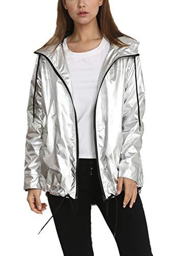 Damen Mantel Reißverschluss Kapuzenpulli Wasserdicht Falsche Metallic Casual Jacke Silber M