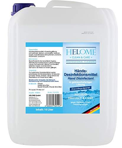 HELOME 10l Händedesinfektion - Desinfektionsmittel für Haut und Hände gegen Viren, Bakterien und Pilze - Nicht parfümiert - 10l in gebrauchsfertiger Lösung Plus Mikrofaser-Tuch