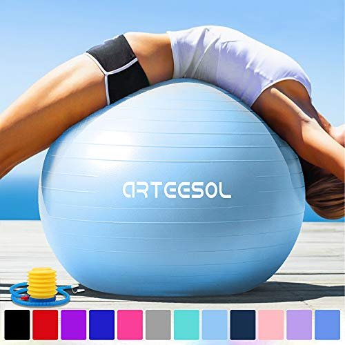 Arteesol バランスボール 厚い 45cm/55cm/65cm/75cm 滑り止め 爆裂防ぎ ヨガボール 運動ボール 足踏みタイプのポンプ付き