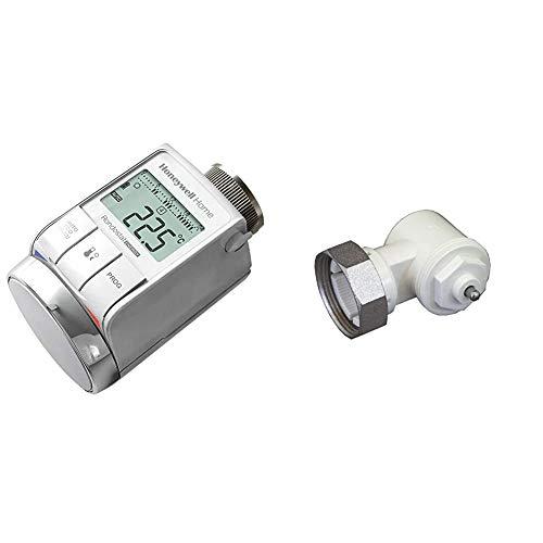 Honeywell Home Programmierbarer Heizkörperthermostat HR25-Energy & Oventrop 1011450 Winkeladapter für Ventil-HK, weiß