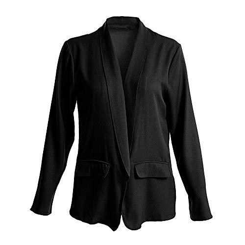 iHENGH Damen Herbst Winter Jacke Warm Bequem Mantel Lässig Mode Frauen Womens Solid Open Front Cardigan Langarm Blazer Freizeitjacke Slim Coat (Schwarz,2XL)