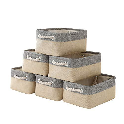 "pulnimus Fabric Storage Baskets 12""x 8"" x 5""Cloth Baskets, 6 Pack Nursery Baskets, Small Storage Bins for Baby, Empty Gift Baskets with Rope Handles, Rectangular Basket, Decorative Closet Baskets"