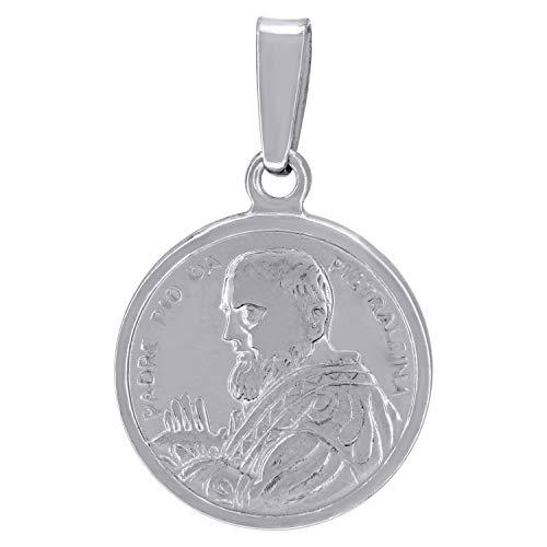 Saris and Things Pingente religioso de prata esterlina 925 com zircônia cúbica CZ Padre Pio de Pietrelcina