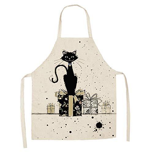 LIUKLAI 1 lindo delantal de cocina con patrón de gato para mujer, babero de lino de algodón, limpieza del hogar, delantal de cocina para el hogar-14_47x38cm