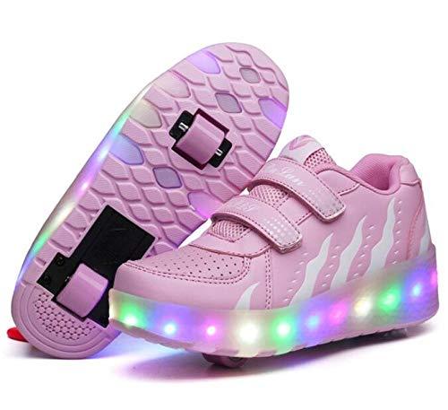 nnn LED Rollschuh Schuhe Skateboard Schuhe,Jungen Mädchen Leichte LED Kinderschuhe,Mit 2 Räder and 1Räder,Drucktaste Einstellbare Skateboardschuhe,Pink-37