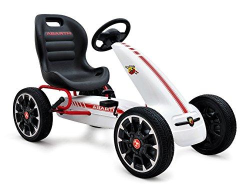 ABARTH Kinder Pedal Go-Kart, Lizenz, Rutscher Auto, Pedal Go Cart, Shaum Reifen Eva Wheels 3–8 Jahre Weiß
