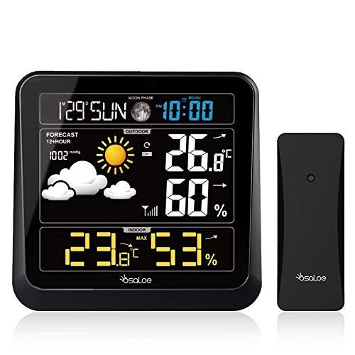 Osaloe Wetterstation, Digitale Wetterstation Funk mit Wireless Außensensor Innen- und Außen Thermometer Hygrometer mit Wettervorhersage, Temperatur Feuchtigkeit, Alarm/Snooze, Farbdisplay