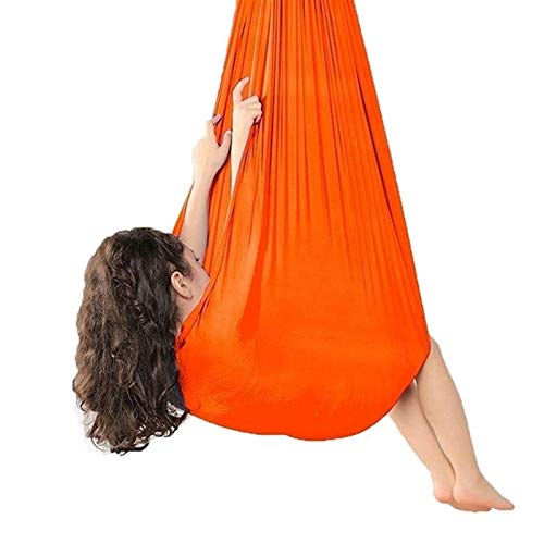 ZCXBHD Hamaca Terapia Yoga Aérea Columpio Sensorial Interior con Capacidad Carga 200Kg Ideal para Integración Sensorial e Autismo ADHD (Color : Orange, Size : 100x280cm/39x110in)