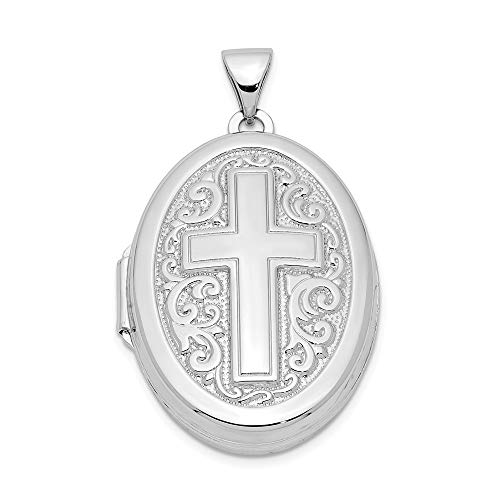 925 Sterling Silver Oval Cross Religious Photo Pendant Charm Locket Chain Necklace That Holds Pictures Fine Jewelry For Women Gifts For Her