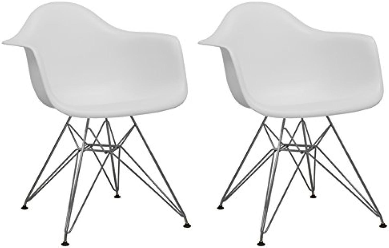 Mod Made Mid Century Modern Paris Tower Dining Arm Chair Chrome Leg, White, Set of 2