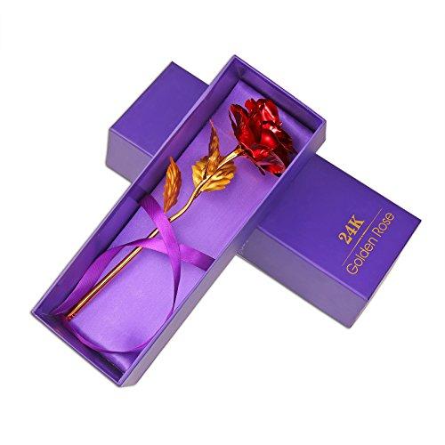 ACCEDE Rote Rose Künstliche goldene Rosenblüte, Romantisches Geschenk für Immer zum Muttertag, Valentinstag-Geburtstagsfeier, Hochzeitstag, Erntedankfest für die Frau, Freundin und Ehefrau