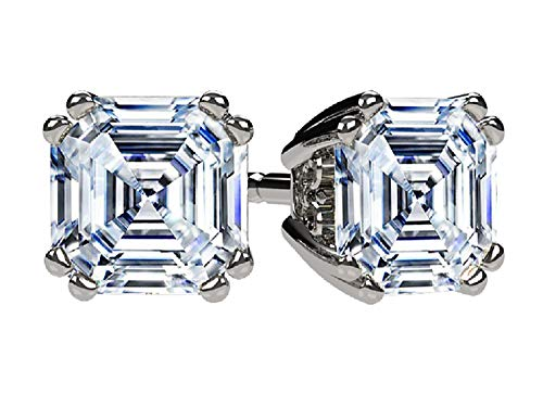 NANA Asscher Cut Swarovski CZ Stud Earrings Silver & 14k Gold Post - 4mm-0.75cttw - Platinum Plated