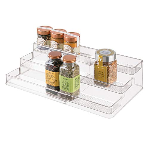 "iDesign 64140 iDesign Linus Plastic Expandable Multi-Level Spice Rack, 3-Tiered Customizable Organizer for Kitchen, Bathroom, Office Cabinet and Countertop, 26.29"" x 9.50"" x 4.11"" extended, Clear"