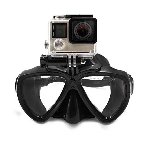 M ugast snorkel-duikmasker van gehard glas met afneembare bevestigingshouder voor GoPro Hero 3/4/5/6/7/8, Session 4/5, DJI Osmo Action Camera