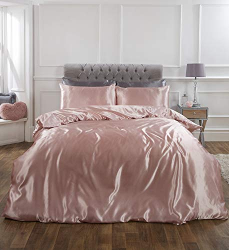 Sienna Full Silky Satin Duvet Cover with Pillowcase Shiny Bedding Set, Blush Pink, Single