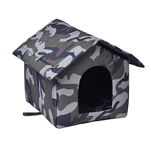 Casetta per gatti da esterno,casetta mimetica impermeabile per animali domestici con due cuscini,capanna per gatti addensata per gattini riparo per gatti Cuccia per cani Prodotti per animali domestici