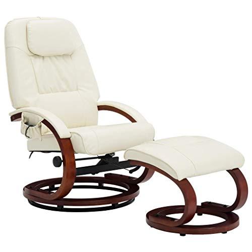 Irfora Massagesessel mit Hocker Fernsehsessel Relaxsessel mit Wärmefunktion TV Sessel Elektrisch Liegesessel Ruhesessel Wohnzimmersessel Liegefunktion Heizung, Cremeweiß Kunstleder