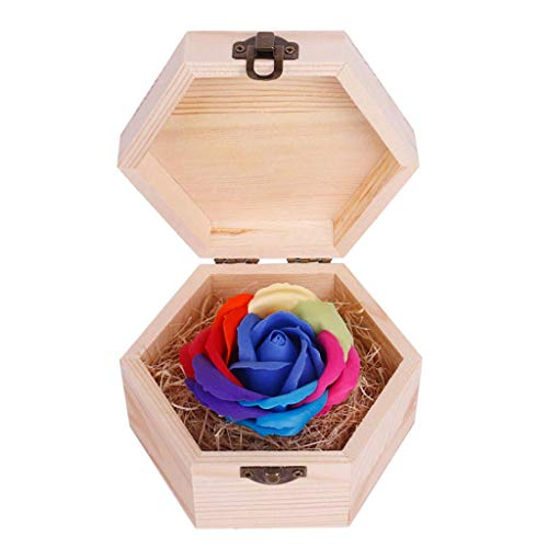 FENGLI Soap Flower Rose Gift, Colourful Rose in Wooden Hexagon Shape Box, Idea Valentines Day Mothers Day, Anniversary, Birthday Decoration, Engagement,Wedding, Party (Color : Blue)