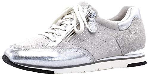 Gabor Damen Low-Top Sneaker 24.322, Frauen Sneaker Low,Halbschuh,Schnürschuh,Strassenschuh,Business,Freizeit,Ice/Argento/marmor,38.5 EU / 5.5 UK