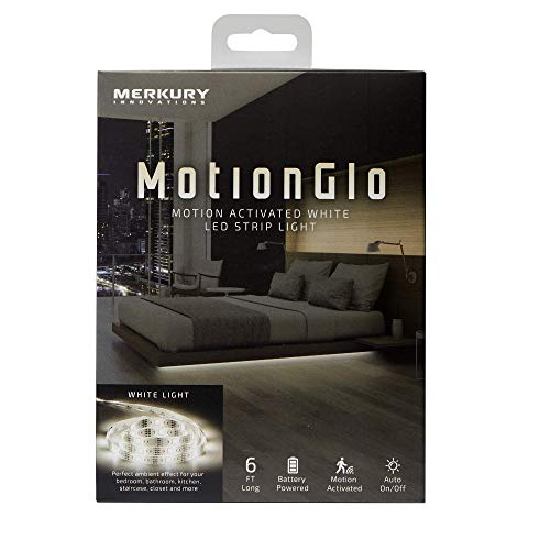Merkury Innovations Motion Glo Motion Activated White LED Strip Light-Battery Operated LED Under Cabinet Lighting Motion Sensor, 6 Ft for Bed Stairs Wardrobe Lamp Tape, LED Closet Night Strip Light
