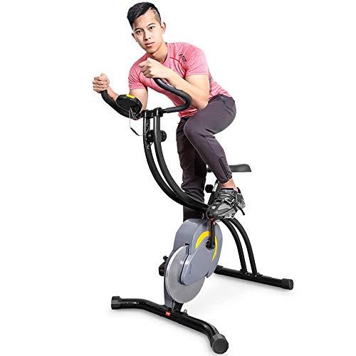 LOKKG Indoor Heimtrainer, Fitness-Fahrrad Stationär, Folding Magnetic Heimtrainer, mit LED-Digitalanzeige und Herzfrequenz-Test, einstellbarem Widerstand, für Office