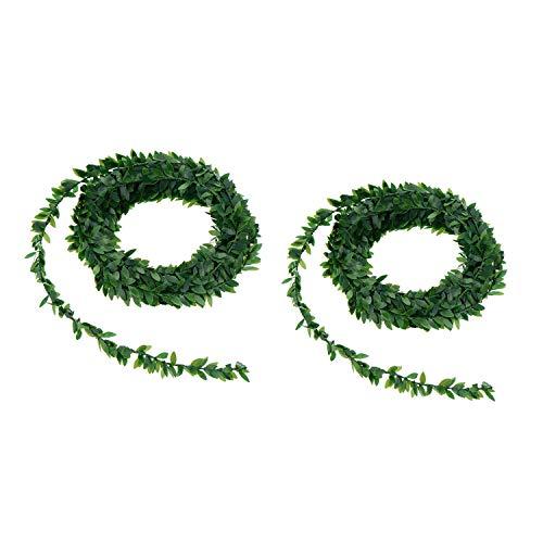Wohlstand 2pcs Plantas Hojas Artificial Decoración Guirnalda Hiedra Artificial De Hogar Boda Jardín Valla Escalera Ventana para Decoración (7.5 m)