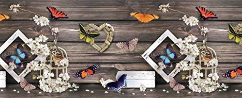 Homelife Alfombra Vinílica de Cocina Lavable y Antideslizante Alfombra Rectangular de PVC Antimanchas, Interior y Exterior | Alfombra Pasillera con Mariposas y Flores (52x120 cm)