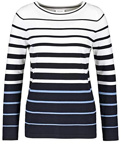 Gerry Weber Damen Pullover mit Streifenverlauf figurumspielend Dark Navy/Vivid Blue/Ecru 40